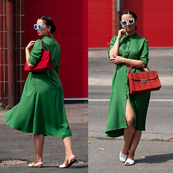 Drew - Zoot Dress, Zoot Shoes, Textile House Second Hand Bag, Topankovo Sunglasses - Red light Green light
