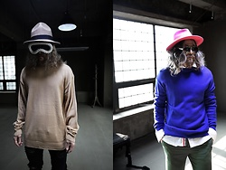 INWON LEE - Byther Basic Loose Knit Sweatshirts, Byther Vivid Color Fedora - Basic Fashion Knit Top