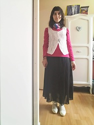 Lulu Longstocking - Thrifted Thin Fleece Sweater, Thrifted Lace Vest, Pleat Skirt, Resoled White Lace Shoes - Vintage