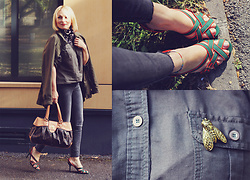 Anca Varsandan - Manolo Blahnik Heels, Louis Vuitton Bag, S.Oliver Shirt, René Gouin Insect Brooch, Vila Jacket, Reserved Jeans - My Manolos