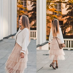 Gabriela Grębska - Aliexpress Dot Tulle Skirt, Olivia Burton Watch, Na Kd Sweater, Zara Bag, Bershka Boots - Tulle dot skirt