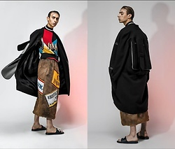 Samm Bate - Ellie Rousseau Multi Coloured Vest, Adam Jones Beer Mat Skirt, N/A Backpack Trench, Nike Sliders - Studio Satire