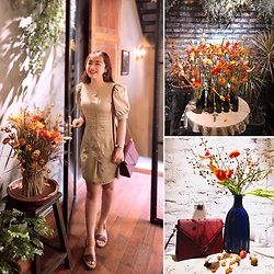 Lan Chi Vu - Clarks Sandal, Chez Vu Darling Bag - Autumn shows us how beautiful it is to let things go