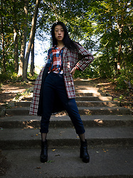 Gi Shieh - Raided Mom's Closet Plaid Overcoat, Buffalo Exchange Orange & Blue Plaid Shirt, Gap Blue Slacks, H&M Black Fishnet Tights, Aldo Black Platform Boots - Plaid on Plaid