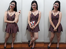 Luly Lage - Ray Ban Red Glasses, C&A Lock & Key Necklace, C&A Striped Romper, Beira Ria Blue Shoes - Wish You Were Here...