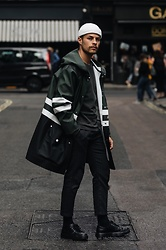 Kevin Elezaj - Dr. Martens Shoes, Topman Pants, Cos Sweater, Stutterheim Raincoat, Asos Beanie - Rainy
