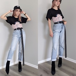 Fruitdandy - Off White Belt, Stussy Hat - Mom Jeans