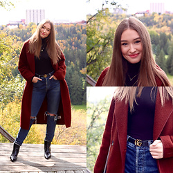 Taylor Doucette - Aritzia Boiled Wool Coat, Citizens Of Humanity Ripped Denim, Gucci Belt, Kendall And Kylie Patent Boots - Everything Sucks - Scott Helman