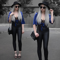 Sammi Jackson - Primark Black Fedora, Zaful Sunglasses, Femmeluxe Finery Satin Tie Blouse, Femmeluxe Finery Lace Mesh Bodysuit, Asos Satin Jeans, Vestiere Collective Boy Chanel, Primark Black Sandals - BLUE SATIN