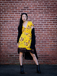 Gi Shieh - H&M Yellow Floral Wrap Dress, Raided Mom's Closet Brown Polka Dot Skirt, Raided Mom's Closet Black Trench Coat, Aldo Black Platform Boots - Fall Lookbook 2019 is out!
