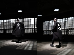 INWON LEE - Byther Back Skull Paint Long Cardigan, Byther Skinny Jeans - Gothic Long Skull Cardigan