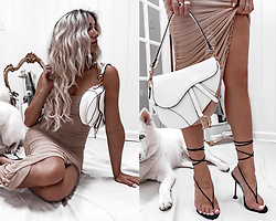 Kristina - Rubin Hair Extensions, Ego Shoes Black Thong Perspex Sandals, Dior Saddle Bag - Let's get dressed up and stay home