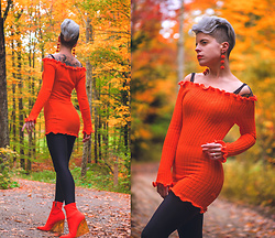 Carolyn W - Femme Luxe Orange, Black Milk Clothing Catsuit, Forever 21 Wedge - Neon Autumn