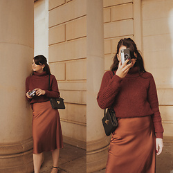 Karolina G. - Missy Empire Hana Brown Cable Knit Roll Neck Jumper, Nasty Gal Slipped And Fell Satin Midi Skirt - The score- glory