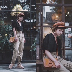 Petrina Hsieh - Brixton Hat, Zara Blouse, See By Chloé Shoulder Bag, Zara Trousers - Puff Sleeves
