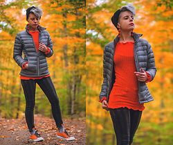 Carolyn W - Eastern Mountain Sports Puffy, Femme Luxe Orange, American Eagle Outfitters Striped, Jenn Ardor Orange - Cold Fall Day