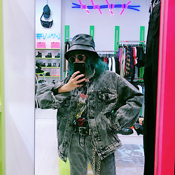 Vita Chen - Vii & Co. Acid Wash Bf Denim Jacket, Vii & Co. Leather Chain Bucket Hat, Vii & Co. Rings Chain Belt - Acid Wash Jeans