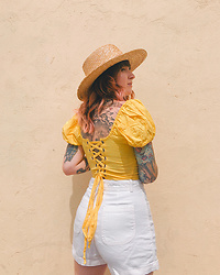 Jessie Bee - The Gap White Shorts, San Diego Hat Company Straw, Forever 21 Yellow Top - Down the Coast