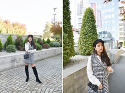 Jelena Dimić - Rosegal Hat, United Colors Of Benetton White Shirt, Shein Houndstooth Tweed Outerwear, Aliexpress Bag, Exit Boots - Just let me love you when your heart is tired