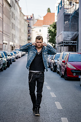 Alexander Renzl - Zeus Black Boots, Tigha Ripped Jeans, Philipp Plein Black T Shirt, Replay Denim Jacket - Into Deep