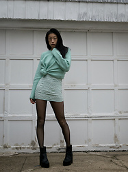 Gi Shieh - Borrowed From Sister Mint/Sea Green Sweater, H&M Mint/Sea Green Lace Bodycon Dress, H&M Fishnet Tights, Aldo Black Platform Boots - Mint Monochrome?