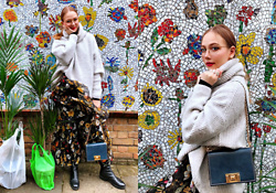 Karina Bogdan - Zara Sweater, Furla Bag, Hugo Boss Boots, Ace & Tate Glasses - Flower Market