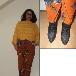 Selina - Oliver Bonas Yellow Knit, Asos Floral Trousers, New Look Glitter Boots - Midnight I'll turn into a pumpkin
