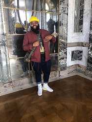 Akil Carter - Asos Blue Jeans, H&M Yellow Beanie, Zara Burgundy Coach Jacket, Herschel Mini Messenger Bag, Nike Blazer, Asos Snoop Dog Tee - POV