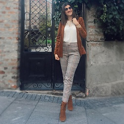 Ivana - Orsay Velvet Blazer, Pimkie Plaid Pants, Zara Suede Ankle Boots, Pimkie Croco Mini Bag, Mango Sil Blouse, Esprit Leo Print Sunglasses, Ps. Fashion Golden Layered Bracelet - Autumn Colors