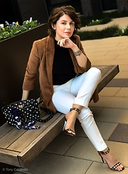 Isabel Alexander - Bershka Blazer, Nunoo Polka Dot Leather Bag, Proenza Schouler Grommet Studded Heels - Tan Blazers for Fall