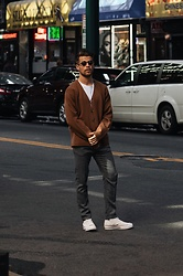Kevin Elezaj - Converse Sneakers, Hugo Boss Pants, Uniqlo Cardigan, Komono Glasses - Williamsburg