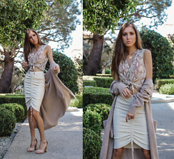 Jenny M - H&M Snakeskin Top, Tres Vu Knit Skirt, Forever 21 Long Cardigan, Shoedazzle Nude Sandals - @thehungarianbrunette // FALL NEUTRALS - 3 WAYS TO WEAR