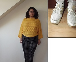 Selina - Oliver Bonas Yellow Knit, Hell Bunny Polka Dot Capris - I believe the nicest and sweetest days are like pearls