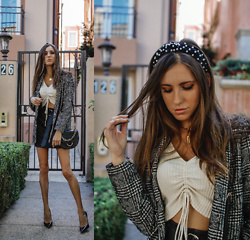 Jenny Mehlmann - Forever 21 Plaid Blazer, Jimmy Choo Pumps, Tres Vu Crop Top, Amazon Headband, Forever 21 Skirt, Aldo Bag - @thehungarianbrunette // BLAIR WALDORF INSPIRED OOTD