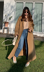 Miamiyu K - Miamasvin Woolen Self Tie Belt Long Coat - Neutral Mix