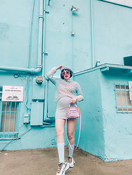 Amy Roiland - Viktor&Rolf Top, Sketchers Shoes, Poppy Lissiman Bag - Blue on Blue on Blue