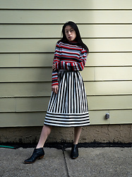 Gi Shieh - Raided Mom's Closet Striped Red, Black, White Sweater, Topshop Black And White Striped Skirt, Matisse Black Booties - HOW MANY STRIPES?