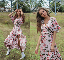 Jenny M - Fleurico Designs Floral Maxi Dress, Aldo White Cowboy Boots - @thehungarianbrunette // FROLICKING FLOWER