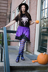 Batslover - Too Fast Skull Ballerina Shoes, Pamela Mann Witchy Tights, C Nocturnum Halloween Skirt, Rotten Halo Witchy Hands Shirt - Halloween witch