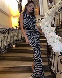 Lauren Recchia - Hervé Léger One Shoulder Gown - Zebra Stripes