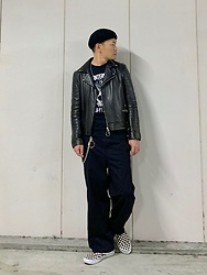 ★masaki★ - Ch. Leather Jacket, Ch. Wide Pants, The Interrupters Tee, Vans Slipon - Black Outfit