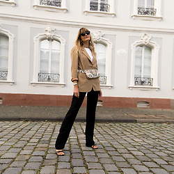 Catherine V. - Gerard Darel Blazer, Burberry Baguette Bag, Loavies Pants, Zara Sandals - 1 LOOK 2 WAYS