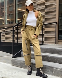 Lauren Recchia - Happy X Nature Jetstream Pant, Happy X Nature Jetstream Cropped Trench, Rag & Bone Combat Boots - Clean Lines & Modern Finishes