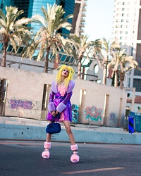 Alina Kireyeva - Dolls Kill Plastic Coat, Dolls Kill Furry Dress, Dolls Kill Furry Heels, Dolls Kill Furry Bag - Fluffy look