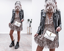 Kristina - Allsaints Leather Biker Jacket, Mvn Leopard Print Dress, Ysl Crossbody Luxury Handbag, Dr Martin Combat Boots - Fiercely feline leopard print