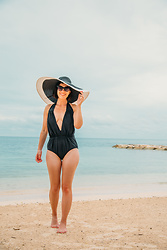 Lindsey Puls - Unique Vintage Swimsuit, Unique Vintage Sunhat - Perfect One-Piece Swimsuit for a Beach Vacation