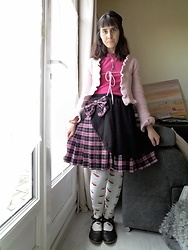 Lulu Longstocking - Thrifted Wool Bolero, Thrifted Thin Fleece Sweater, Bodyline Lolita Skirt - Classic lolita