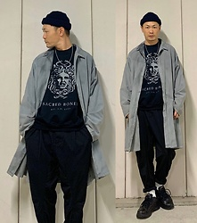 ★masaki★ - Ssnmrkrn Artisanal Coat, Sacred Bones Sweater, Ch. Trousers, Nike Air Monarch, New York Hat Beanie - Monochrome Outfit