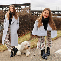 Taylor Doucette - Club Monaco Long Wool Coat, Aritzia Red And Black Plaid Pants, Kendall And Kylie Black Patent Boots - Kissing Other People - Lennon Stella
