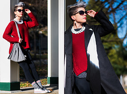 Carolyn W - Shein Red, Gap Heather Grey, Black Milk Clothing Leggings, Joseph And Stacey Pleated, Target Sock Monkey, Jenn Ardor White, Maxmara Coat - Hello, November